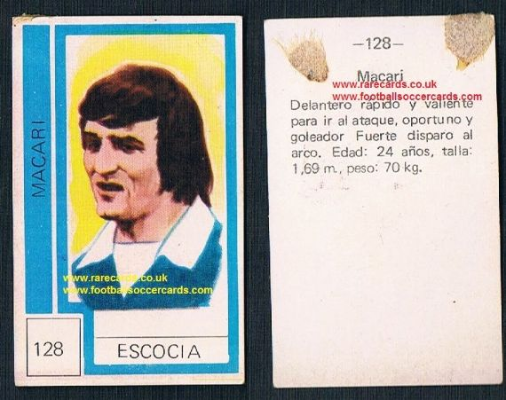 1974 Scotland World Cup Lou Macari - from Chile - Celtic, Man Utd & Swindon Town